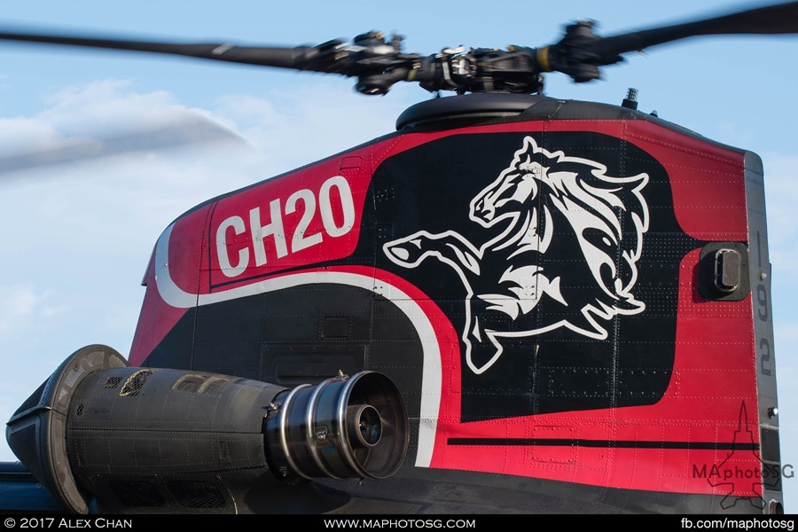 RSAF Chinook: Special tailflash commemorating 20 years of Chinook operations on aircraft 192