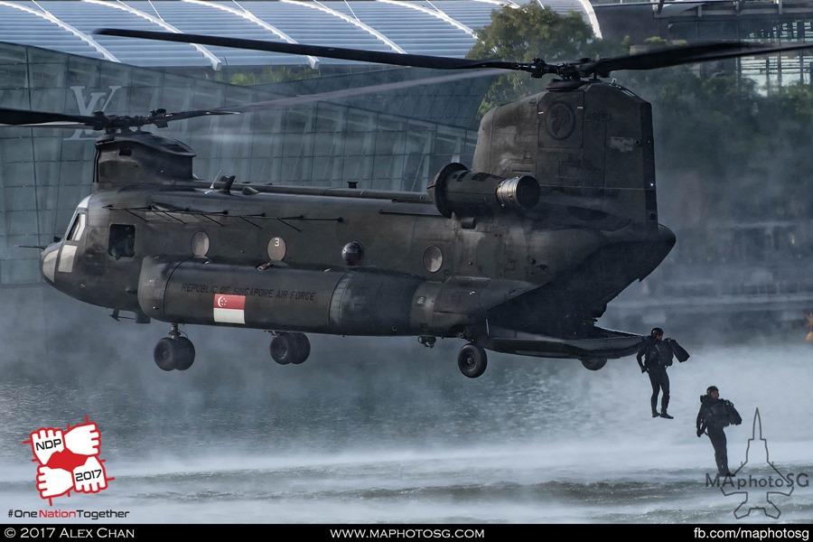 RSAF NDP 2017: Navy Divers deploying from the rear ramp of the RSAF CH-47D Chinook
