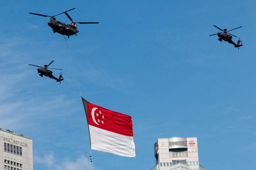 NDP State Flag Flypass Marina Bay