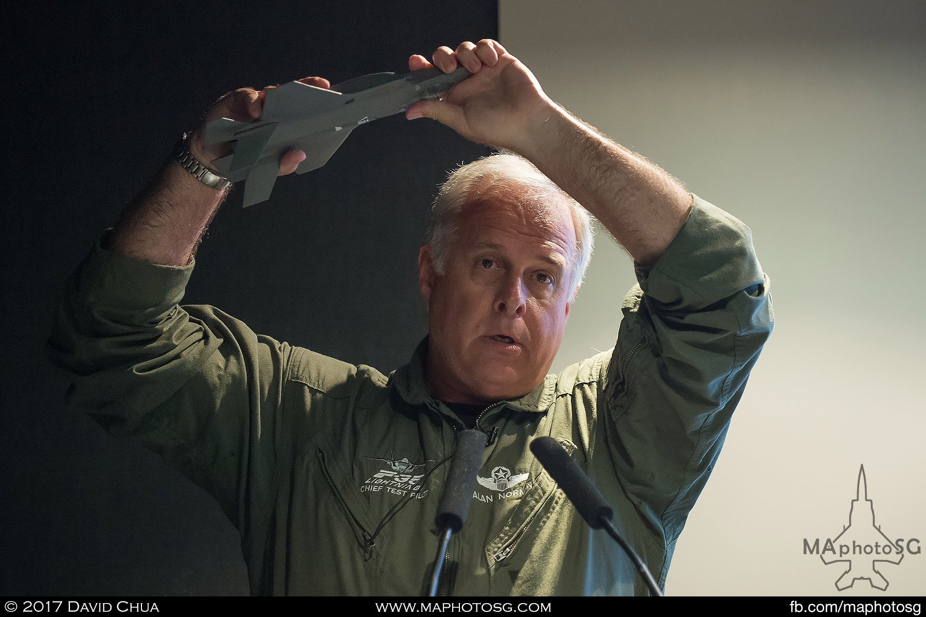 3. Lockheed Martin chief test pilot Alan Norman shows how the F-35A aerial display will look like using a model as he goes through the whole segment of the demo during a press conference.