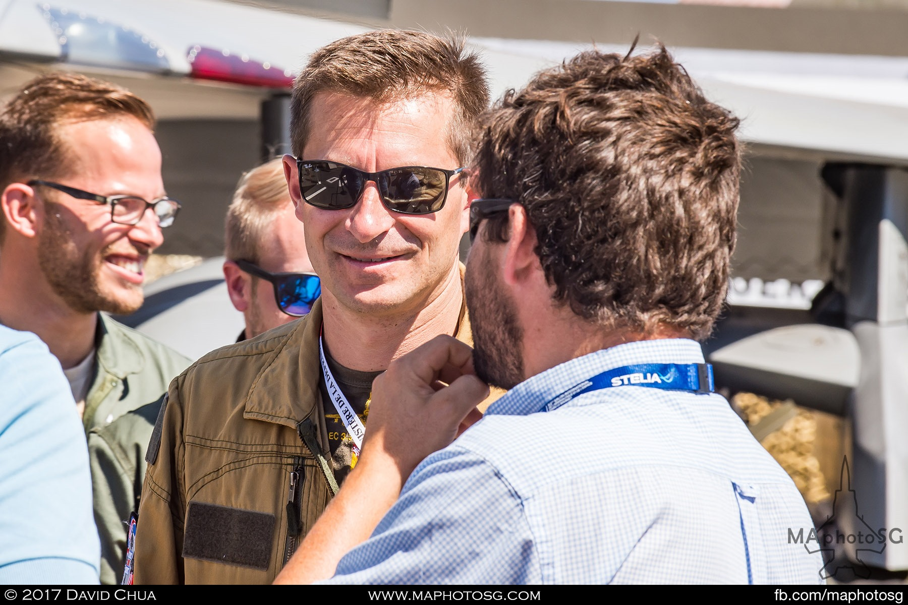 20. Pilot of the French Air Force Rafale interacting with visitors.