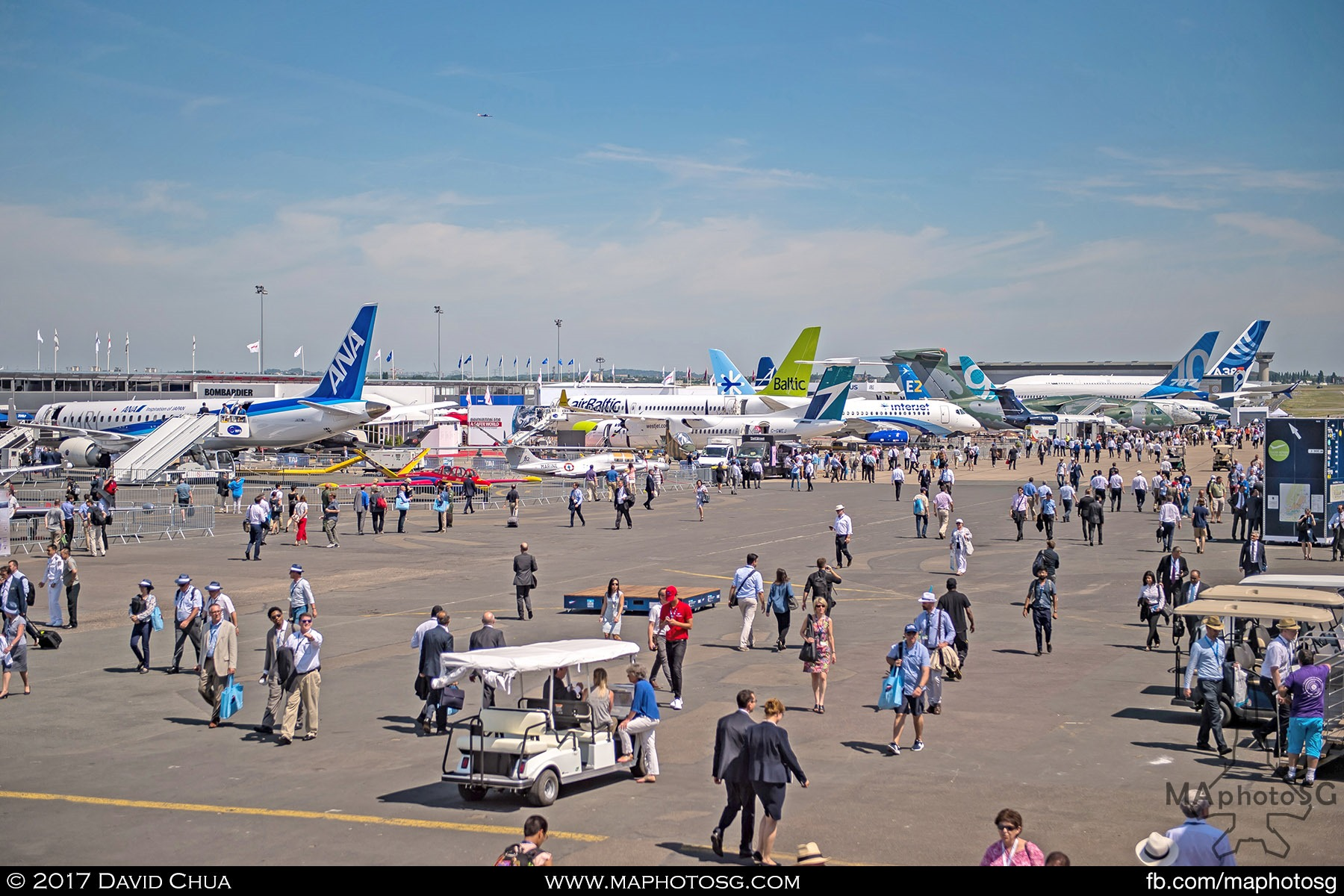 40. Part of the Static Display Area as viewed from the top deck of the Media Centre. Some notable tails are the MRJ, CS300, Q400, Superjet 100, E195-E2, B787-10, B737 Max C295 and A380plus.