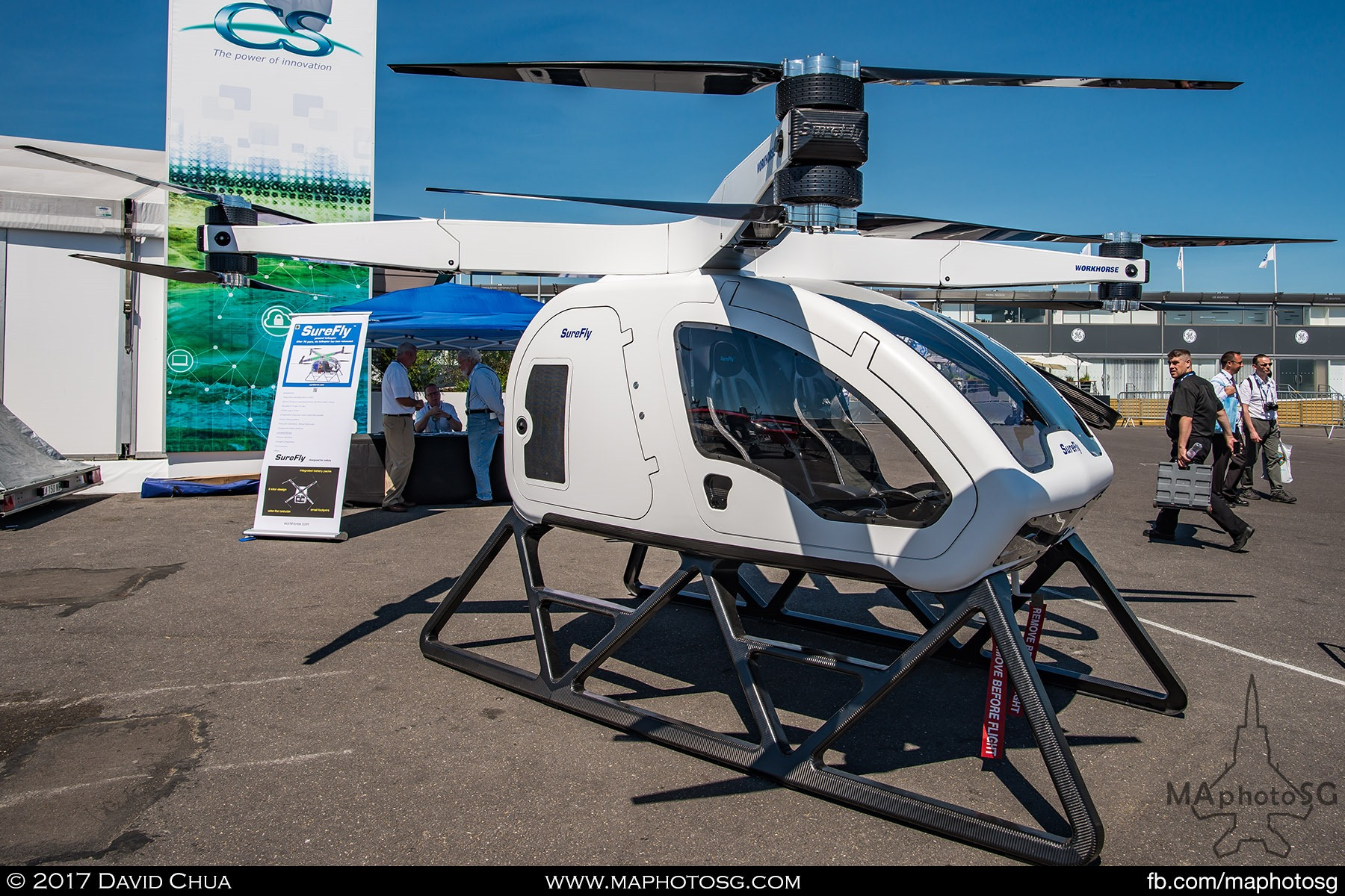 24. Workhorse group's Surefly personal helicopter turned some heads in the Static Display area. It is a two seater helicopter powered by 8 propellers with a flight time of one hour with a full tank of gasoline. Workhorse is targeting to sell this helicopter for a price of USD200000.