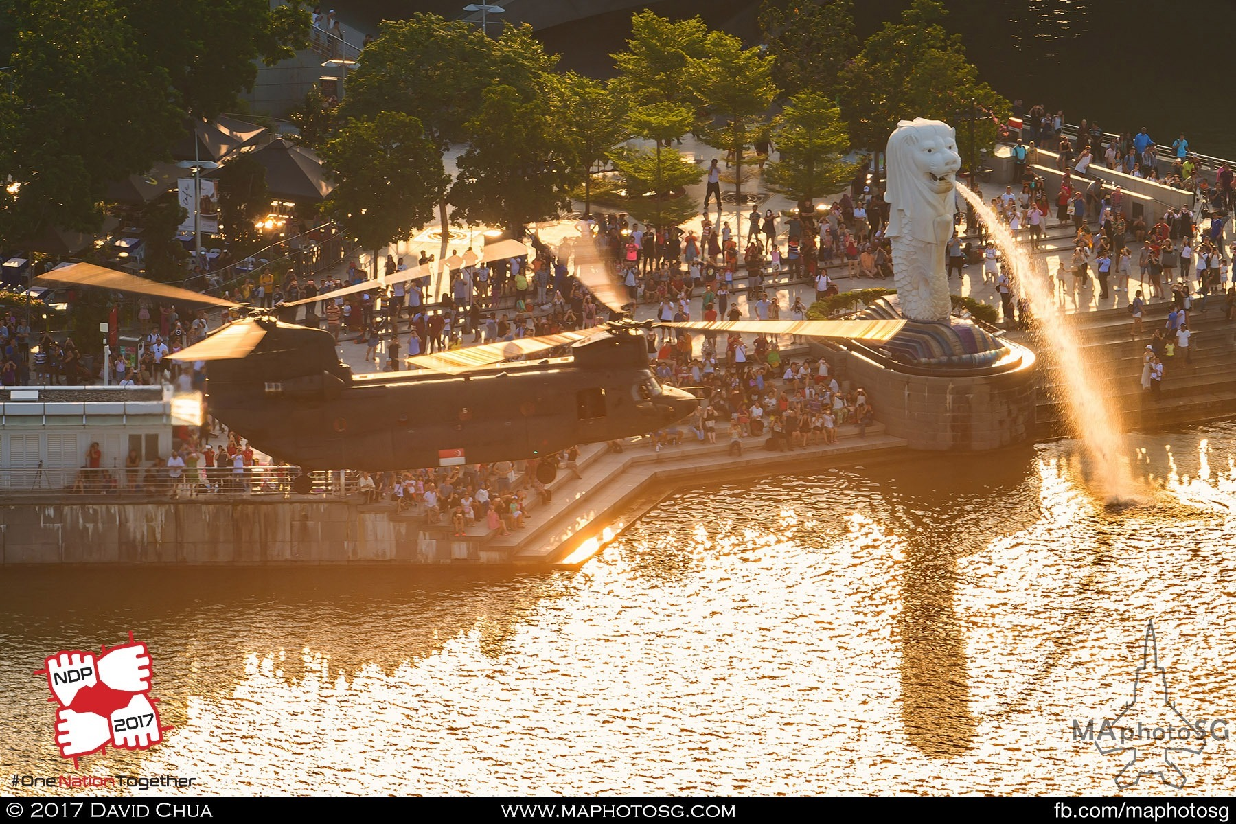 10. A CH-47D Chinook of 127 Squadron prepares to insert Navy Divers as it flies pass the Merlion bathed in golden light from the setting sun