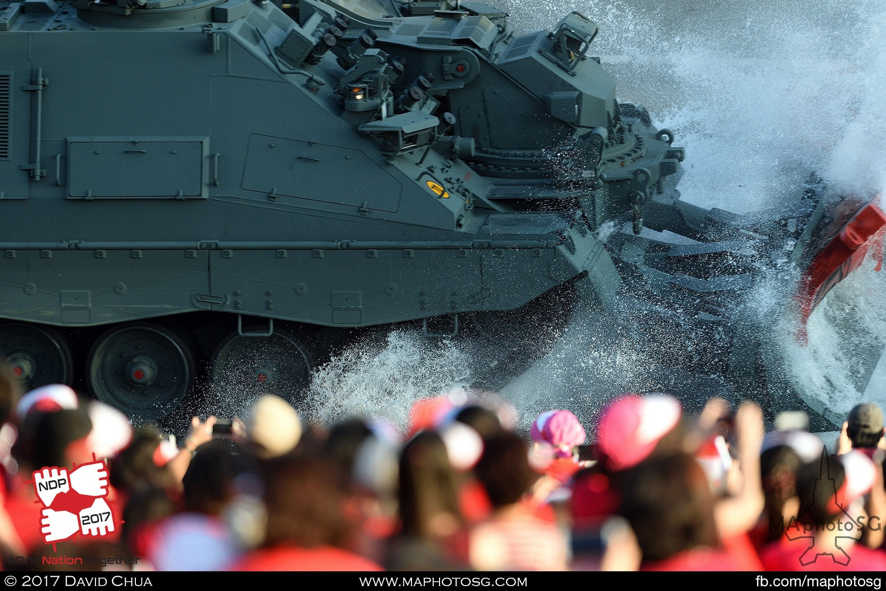 15. Leopard 2 Armoured Engineer Vehicle crashes a water barrier in front of the spectators as part of the Dynamic Defence Display show.