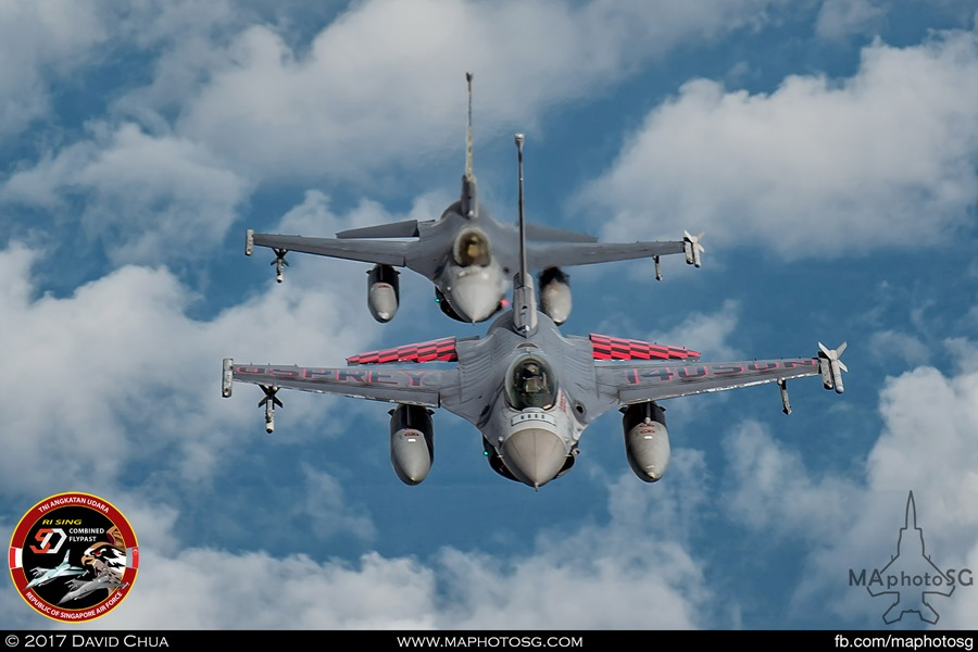 Two F-16s from RSAF 140 Squadron(Front) and 143 Squadron(Back)