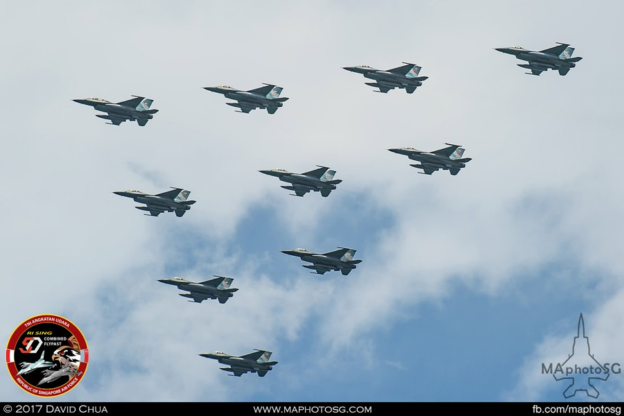 Arrow formation of ten TNI-AU F-16s from Skadron Udara 3 and 16