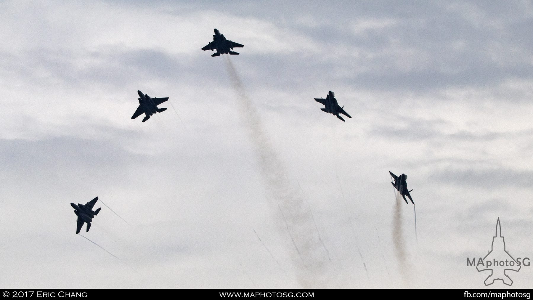 A salute to both nations bomb burst performed by five RSAF F-15SGs
