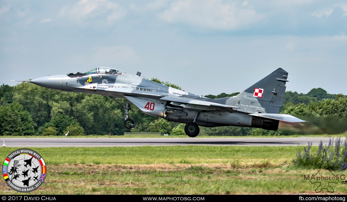 9. Polish Air Force MIG-29 Fulcrum (40) from its 1st Tactical Squadron takes off with full afterburners.