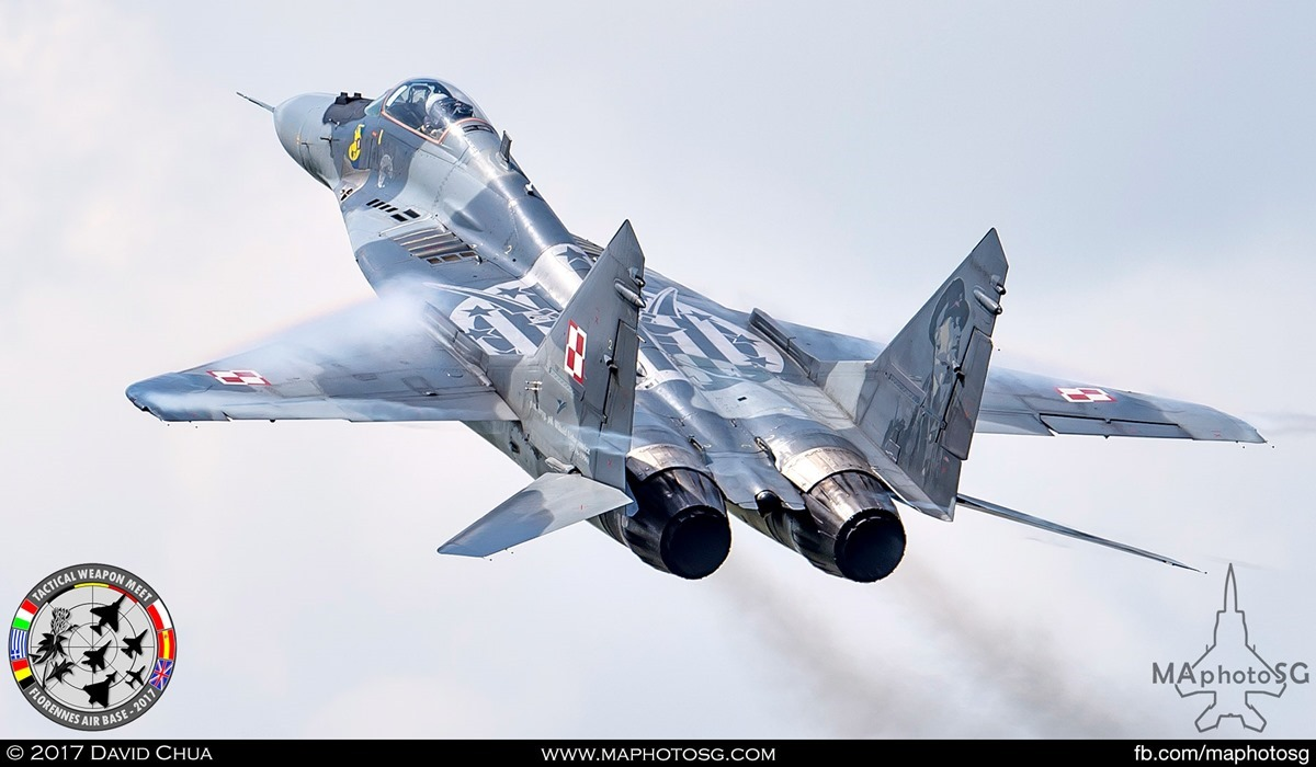 12. Polish Air Force MIG-29 Fulcrum (40) pulls up after low pass.