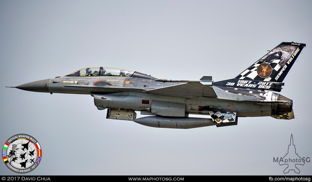 15. Special Appearance 1 - Belgian Air Force F-16B MLU (FB-24) with 30 Years of Operation Conversion Unit tailflash.