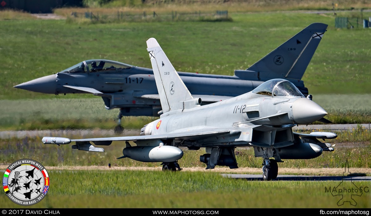 27. A Pair of Spanish Air Force Eurofighter Typhoons of Ala 11 taxis for take off