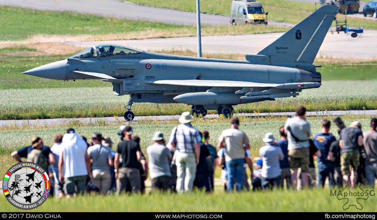 28. Crowd gathers in anticipation as an Italian Air Force Eurofighter Typhoon (4-6) from 4° Stormo started moving from the parking area.