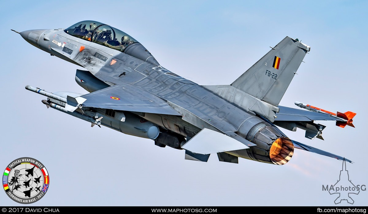 36. Belgian Air Force F-16B MLU (FB-22)  with full afterburners.