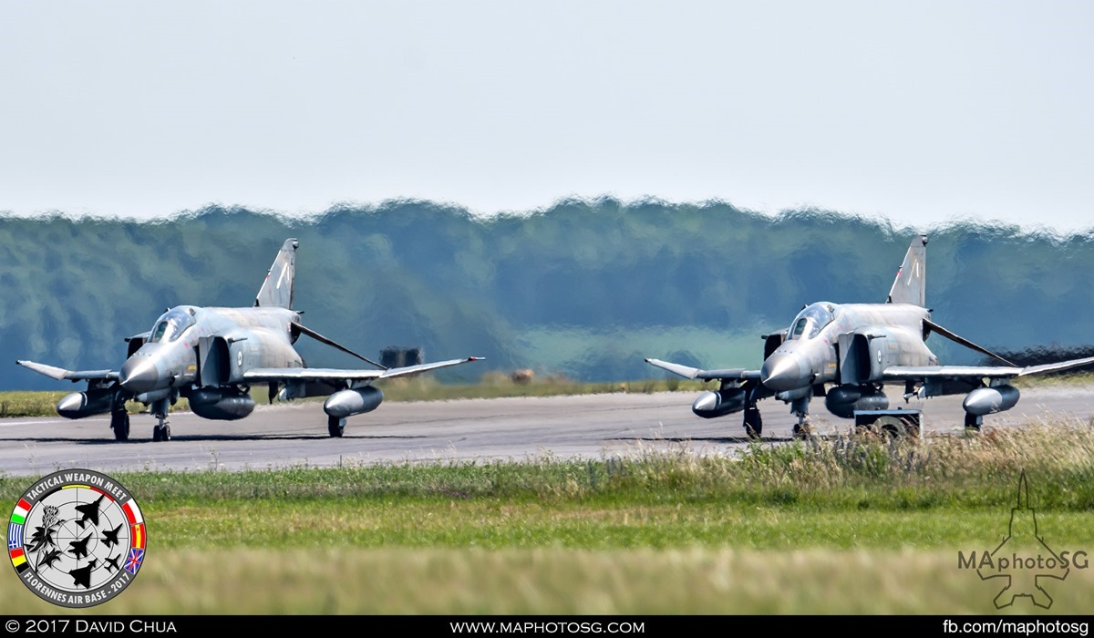 38. The pair of Hellenic Air Force F-4E Phantom IIs from 338 Mira prepares for take off.