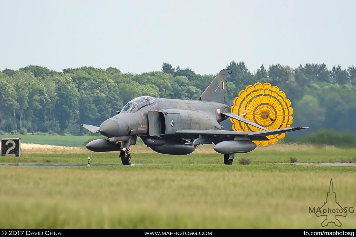 Drogue chute deployed as the Phantom lands back at Florennes Air Base