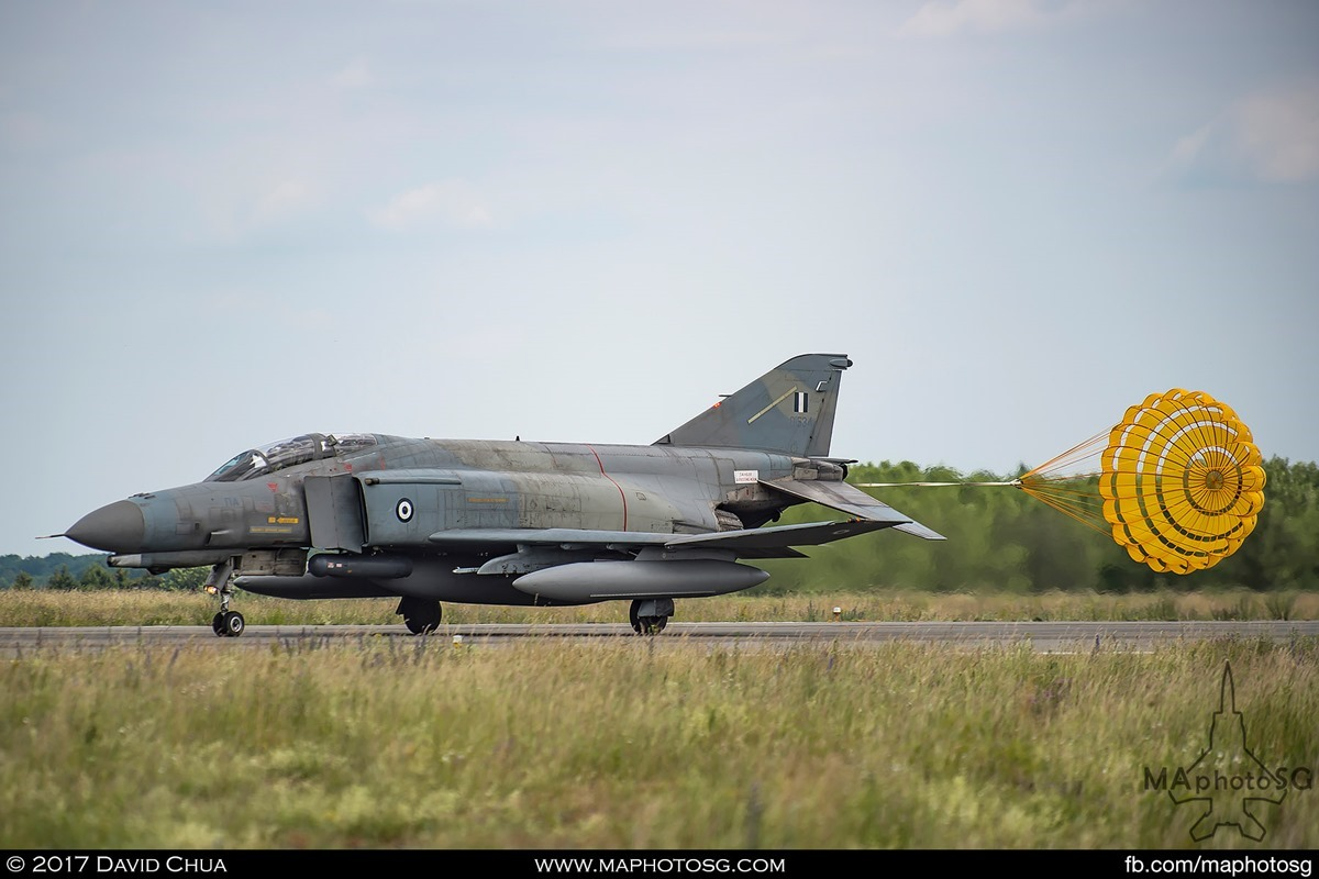 Hellenic Air Force F-4E Phantom II (01534) with drogue chute deployed as it slows down after touching down at Florennes Air Base