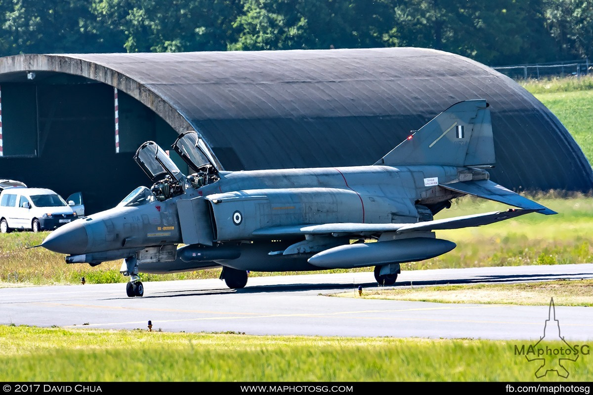 F-4E Phantom II (01534) Taxiing out to the runway past hardened shelter