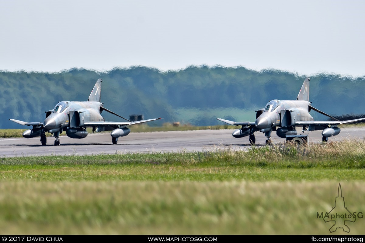 Both Phantoms lined up at the end of the runway ready for takeoff