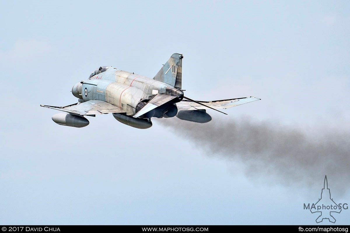 Distinctive smoke trail of the J79 engines as Phantom 01512 pulls up after getting airborne