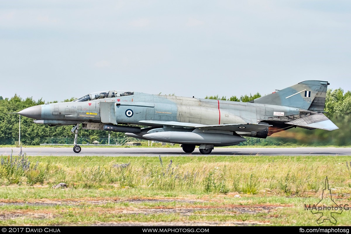 F-4E Phantom II (01512) hurtles down the runway with full afterburners
