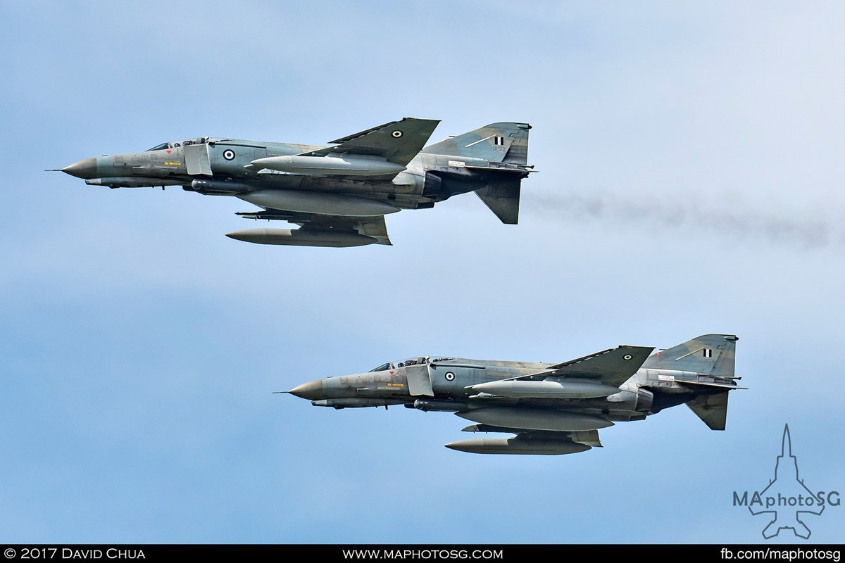 Both F-4E Phantom IIs of the Hellenic Air Force 338 MIRA participating in the Tactical Weapon Meet 2017
