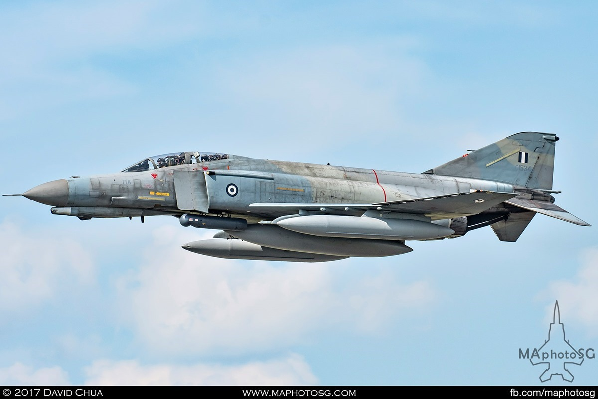 Side profile view of Hellenic Air Force 338 MIRA F-4E Phantom II (01534)