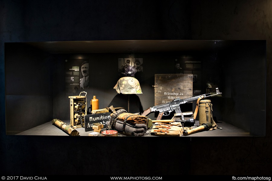 Display of SS Panzergrenadier equipment used during the period. Note the MP44 which can be consodered as the first assault rifle in the world