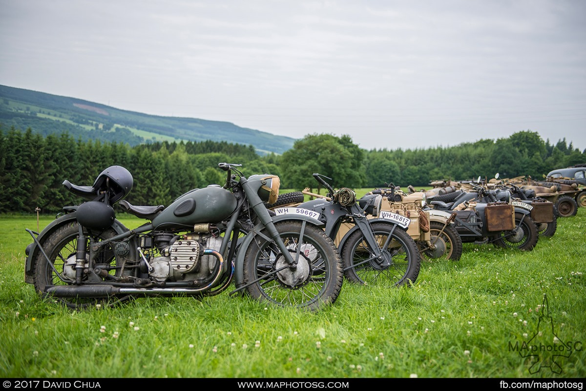 Rows of WWII motorcycles and vehicles that are taking part in the vehicle exposition during the La Gieize Show 2017