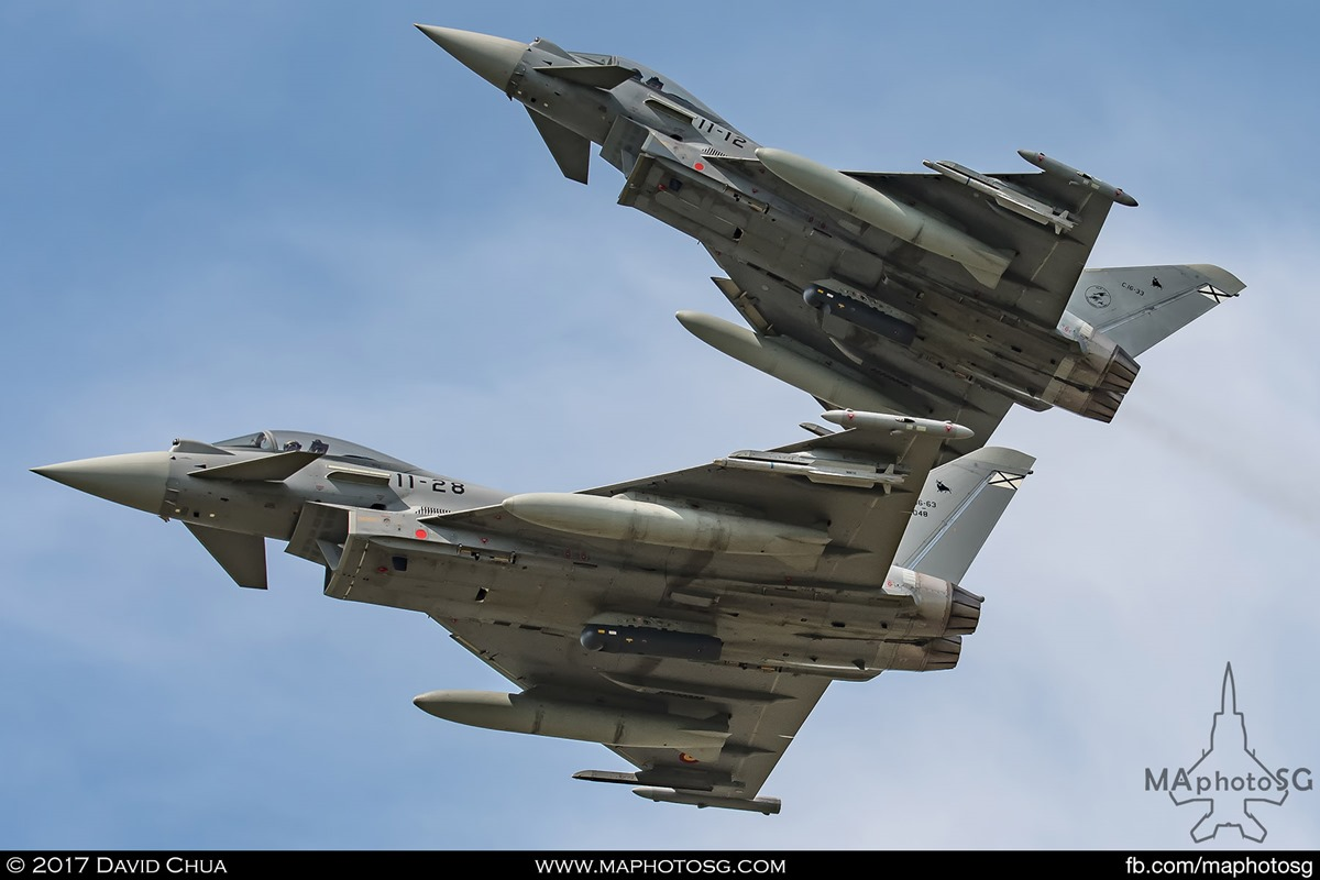 Two Eurofighters of the Spanish Air Force breaks formation as they fly past the Florennes Air Base.