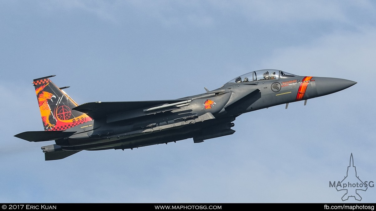 "RSAF F-15SG Strike Eagle from 142SQN ""Gryphon"" sporting Top Ace challenge tail flash."