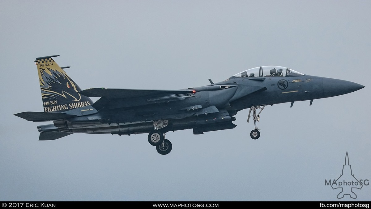 "RSAF F-15SG Strike Eagle from 149SQN ""Shikra"" sporting Top Ace challenge tail flash."