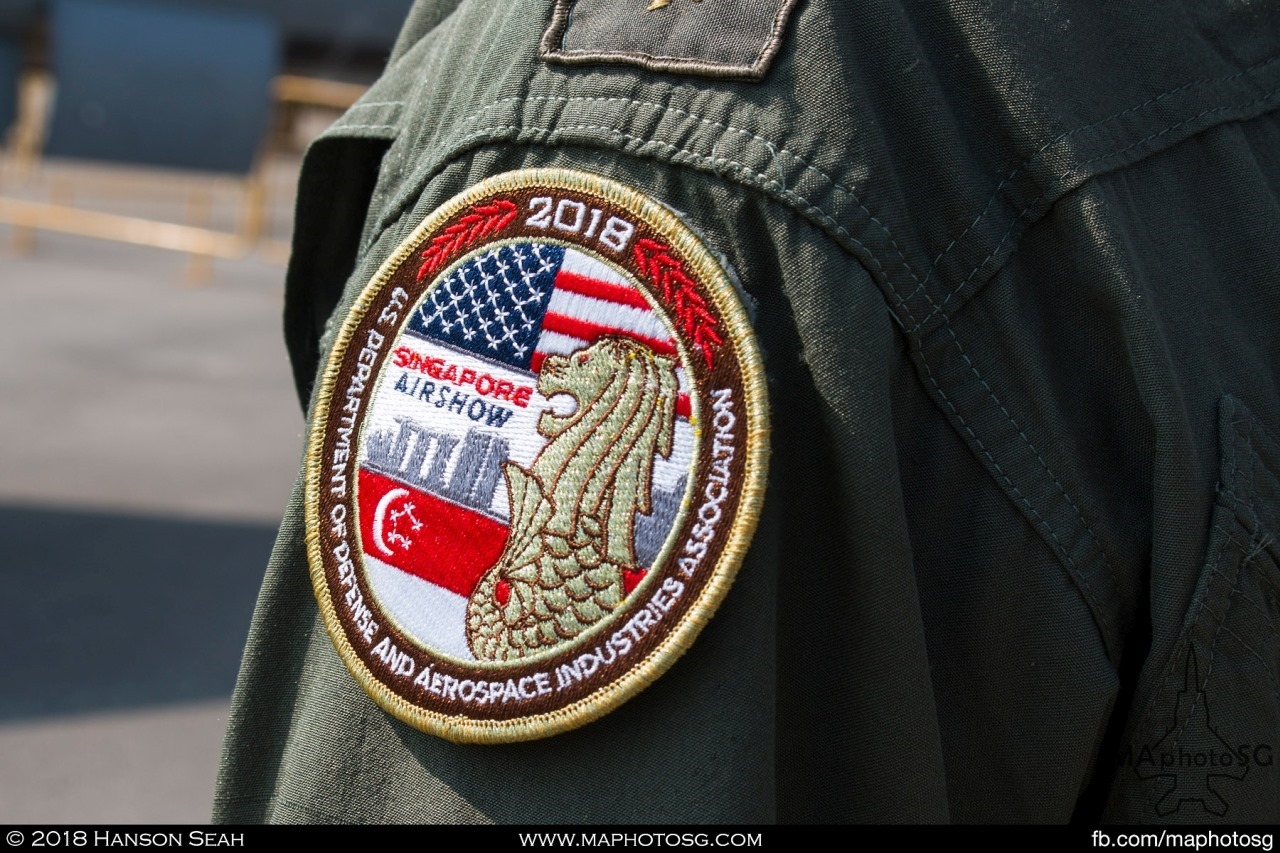 Special Singapore Airshow 2018 patch worn by the crews of USAF at static display area