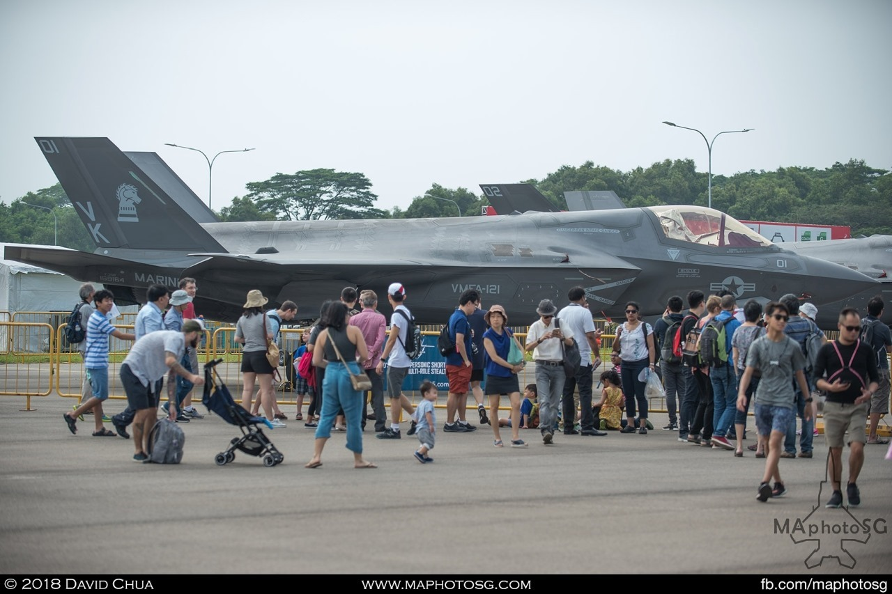 One of the crowd favourites is the pair Lockheed Martin F-35B Lightning IIs specially flown in for the Singapore Airshow 2018
