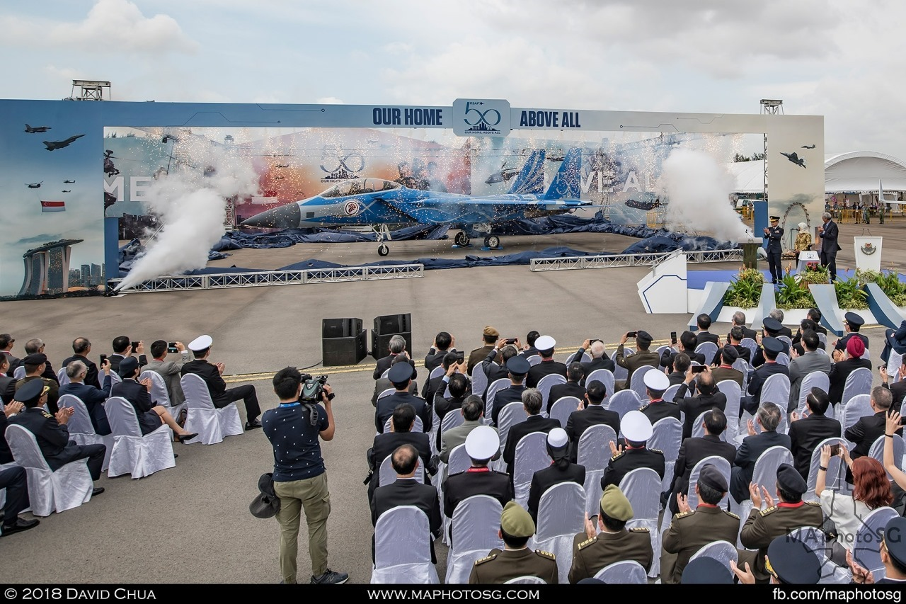 President Halimah Yacob unveils the special RSAF50 Livery F-15SG at a ceremony on the 7 Feb 2018