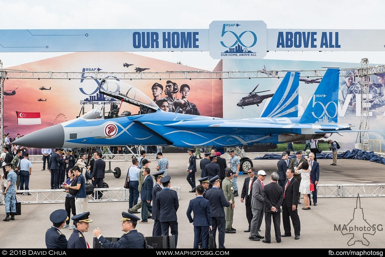 Republic of Singapore Air Force F-15SG with RSAF50 livery on display after unveiling ceremony