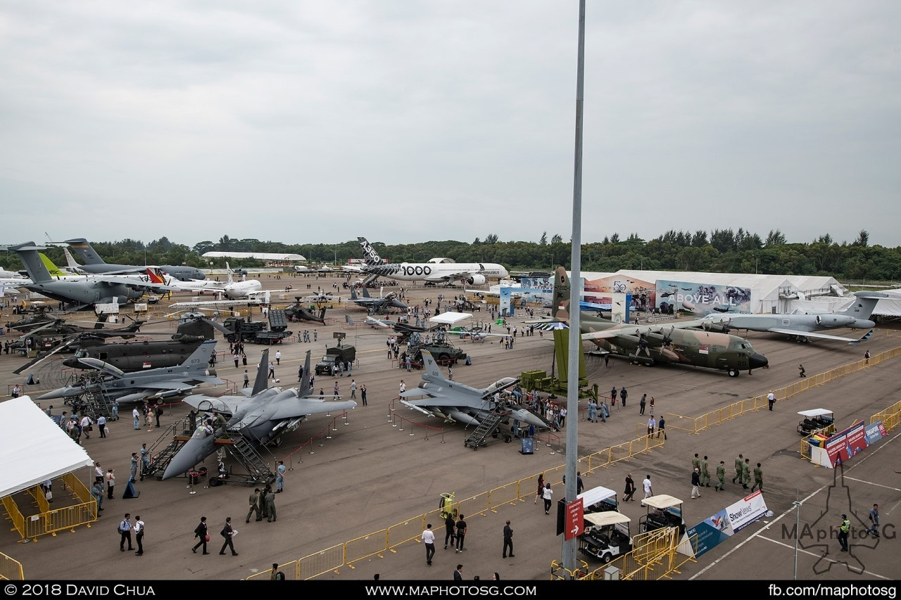 Overview of the Static Aircraft Display Area. RSAF assets in the foreground and the Airbus A350-1000 in the background