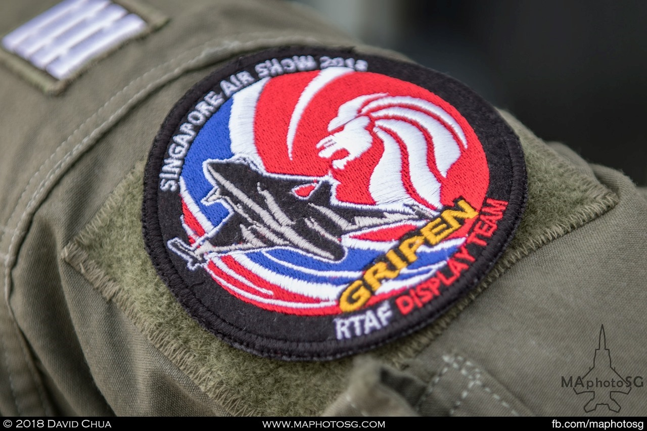 Singapore Airshow 2018 patch design of the RTAF Gripen Display Team