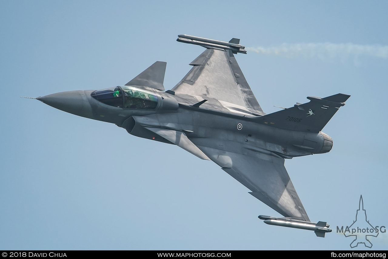 RTAF JAS-39C Gripen during its aerial display performance