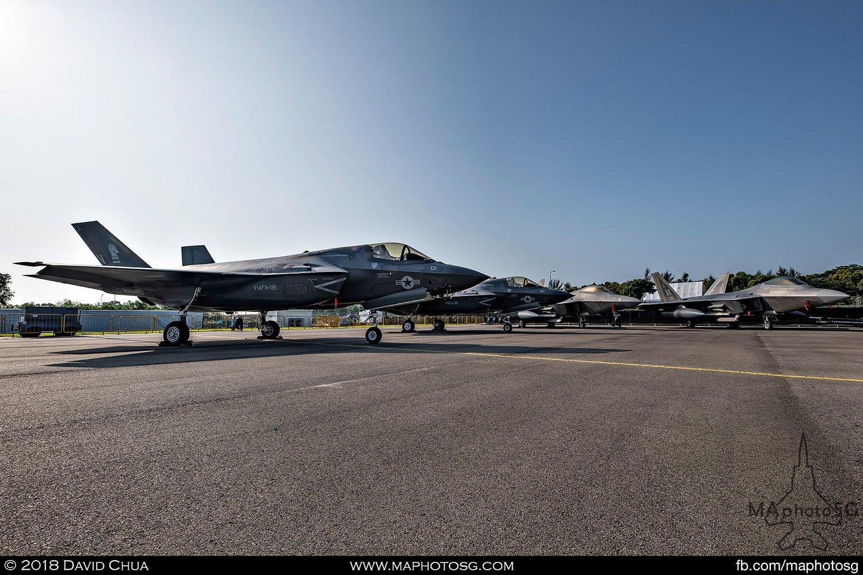 USMC VMFA-121 Lockheed Martin F-35B Lightning IIs (169164, 164166) and USAF 525th FS Lockheed Martin F-22A Raptors (06-115, 06-127)
