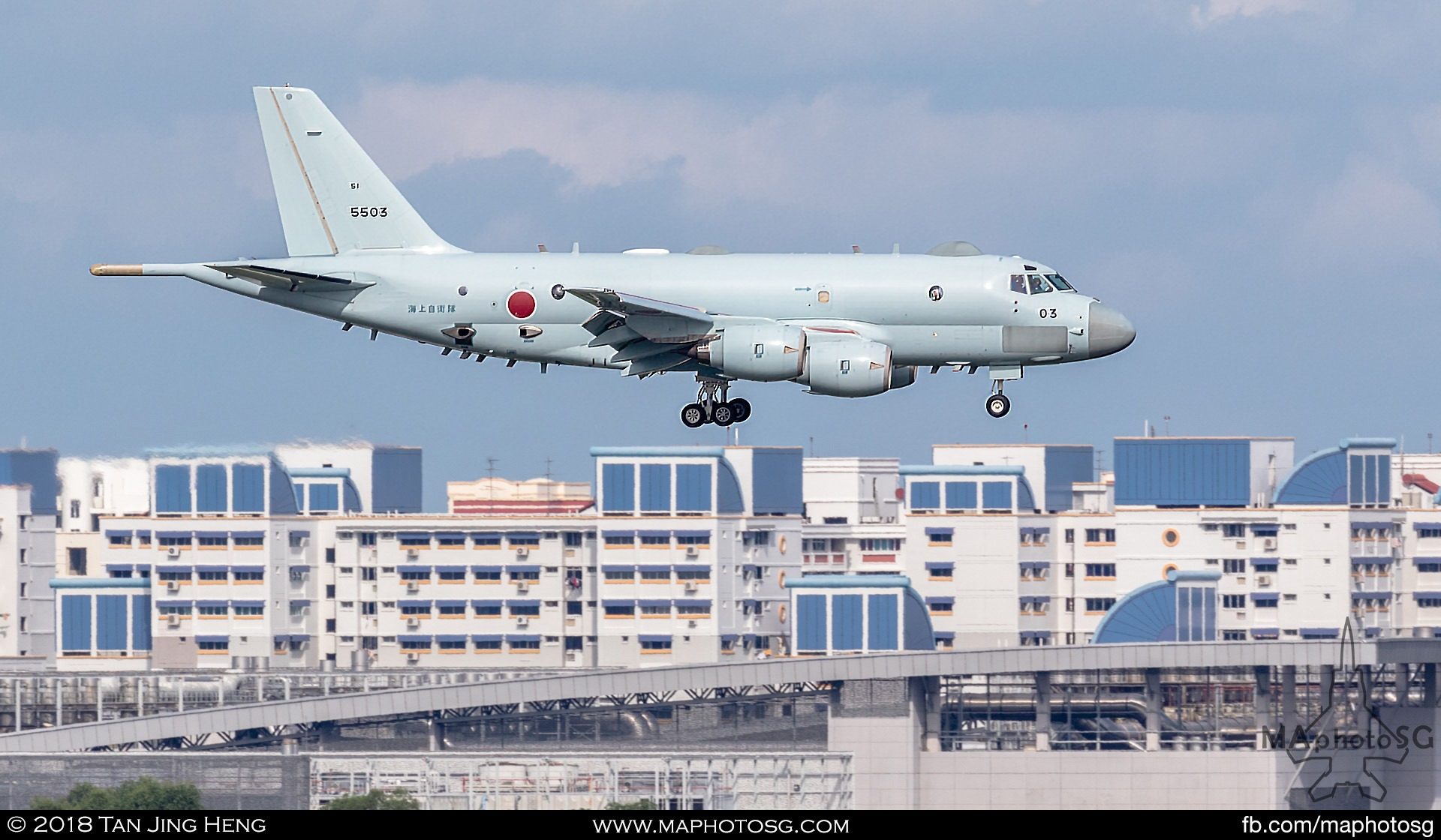 JMSDF Kawasaki P-1 (5503) landing at Paya Lebar Air Base