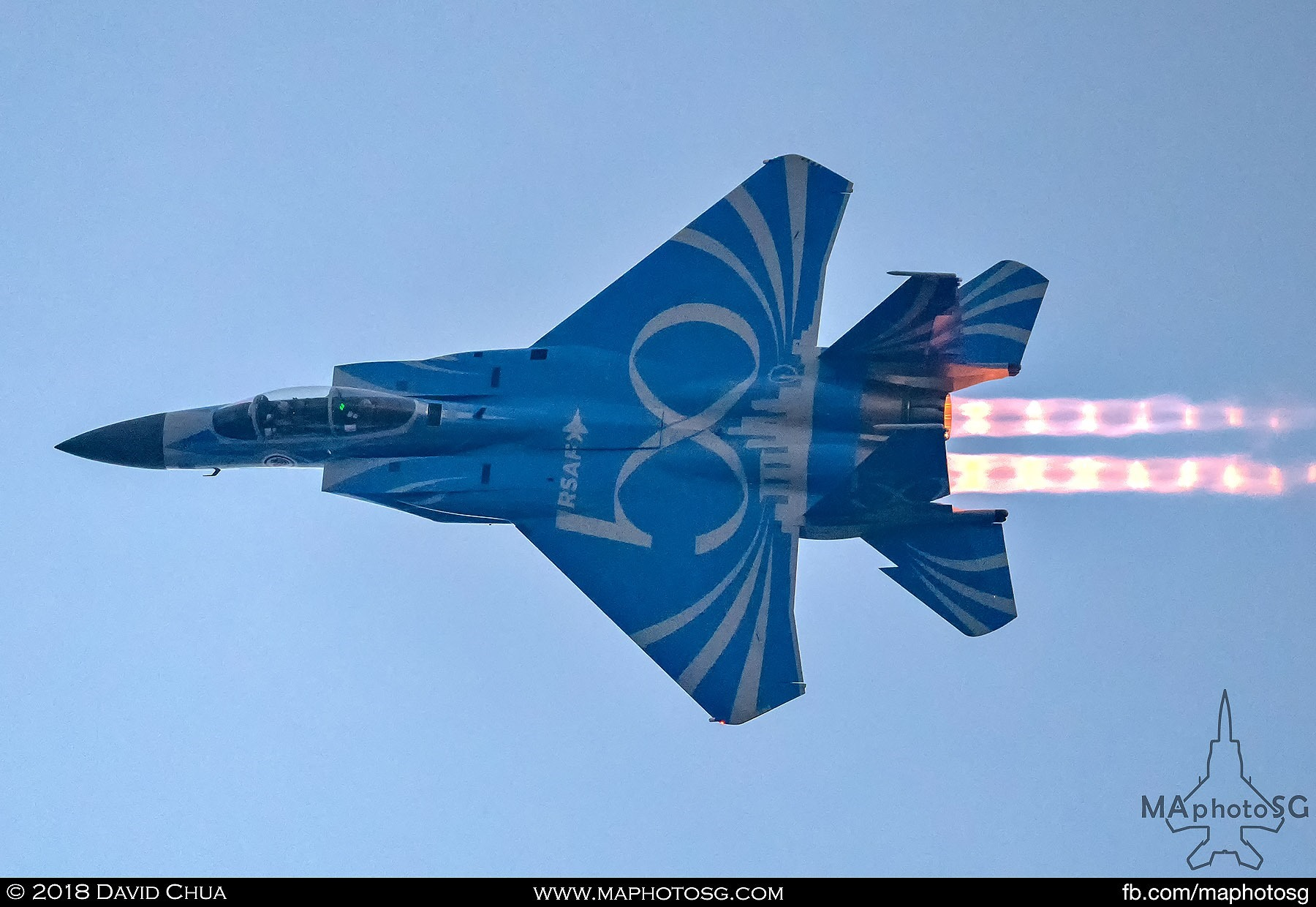 1904 – Single RSAF50 Livery F-15SG Strike Eagle performs High-G turns.
