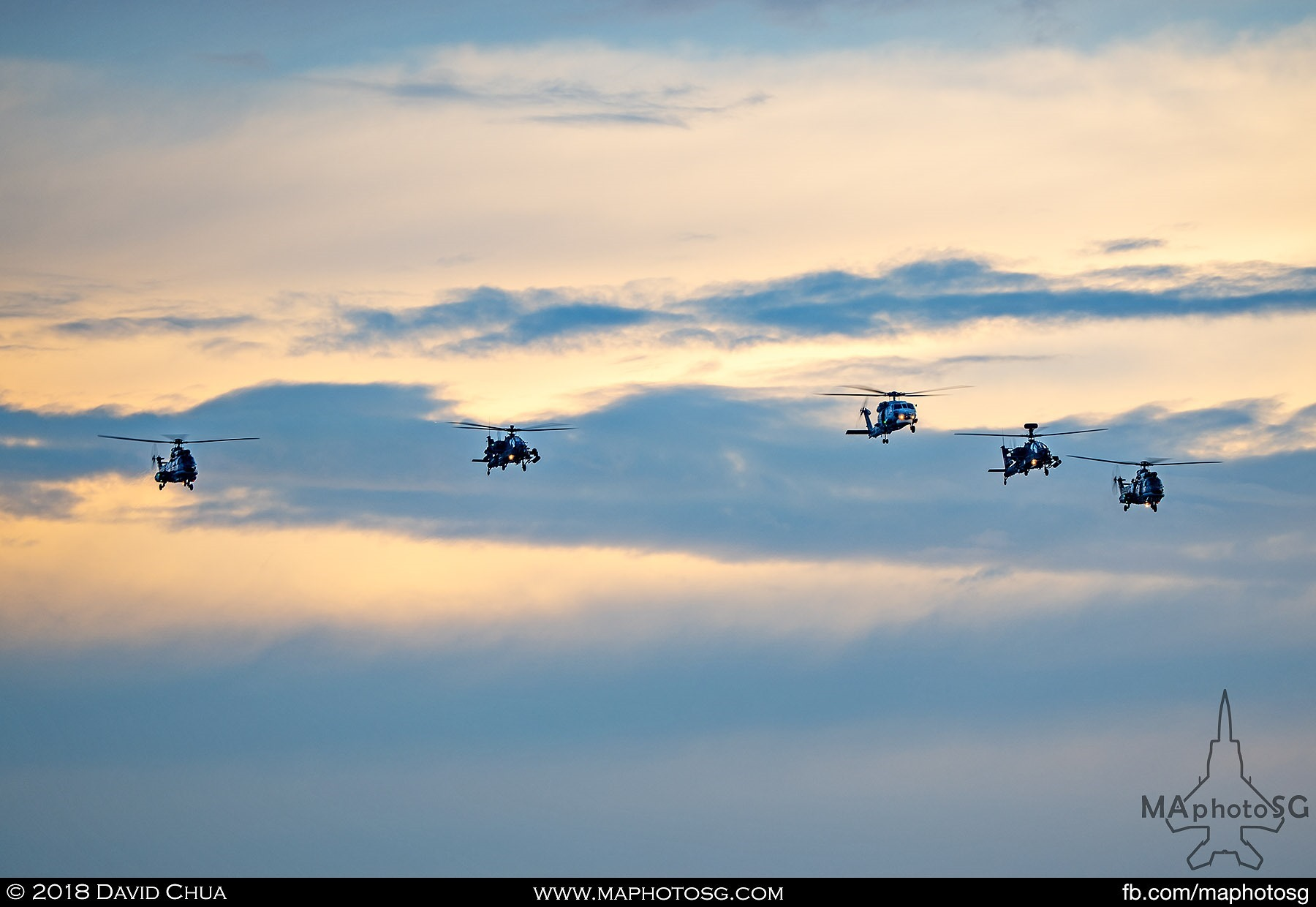 1903 – Helicopter formation of a S-70B Seahawk 2 x AH64 Apaches and 2 x AS-332M Super Pumas