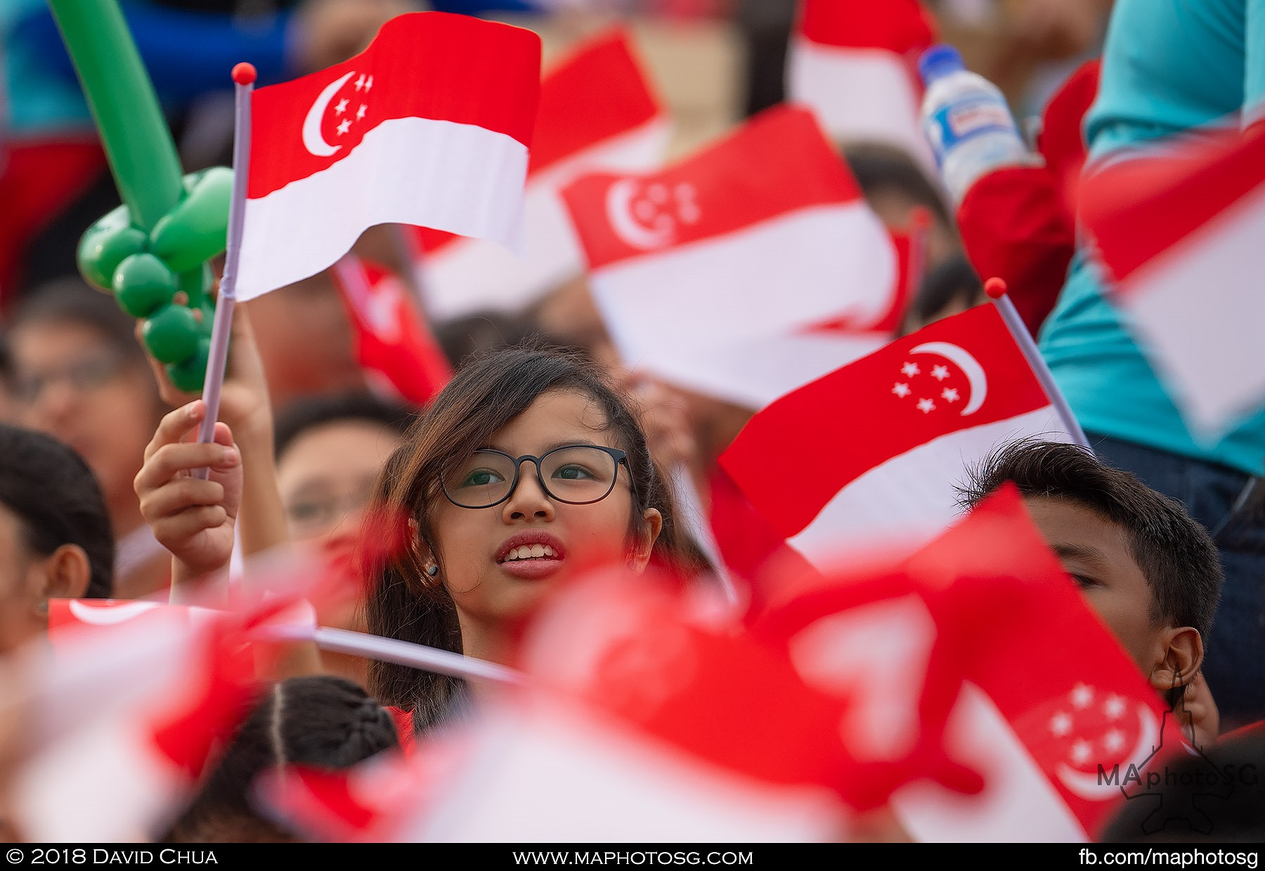 01. A girl waves the Singapore Flag amidst a sea of flags.