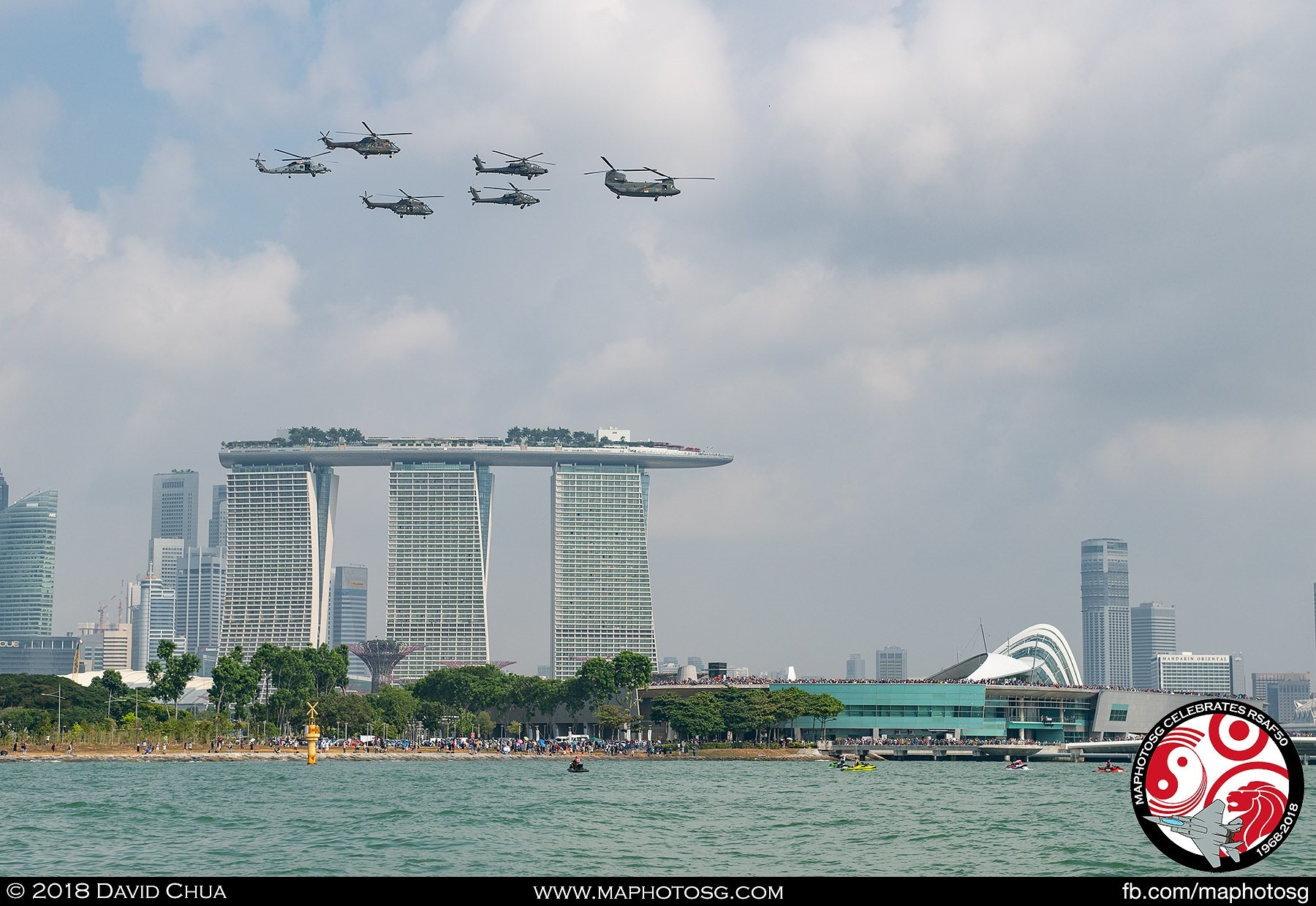 Helicopter Formation with Cityskyline view