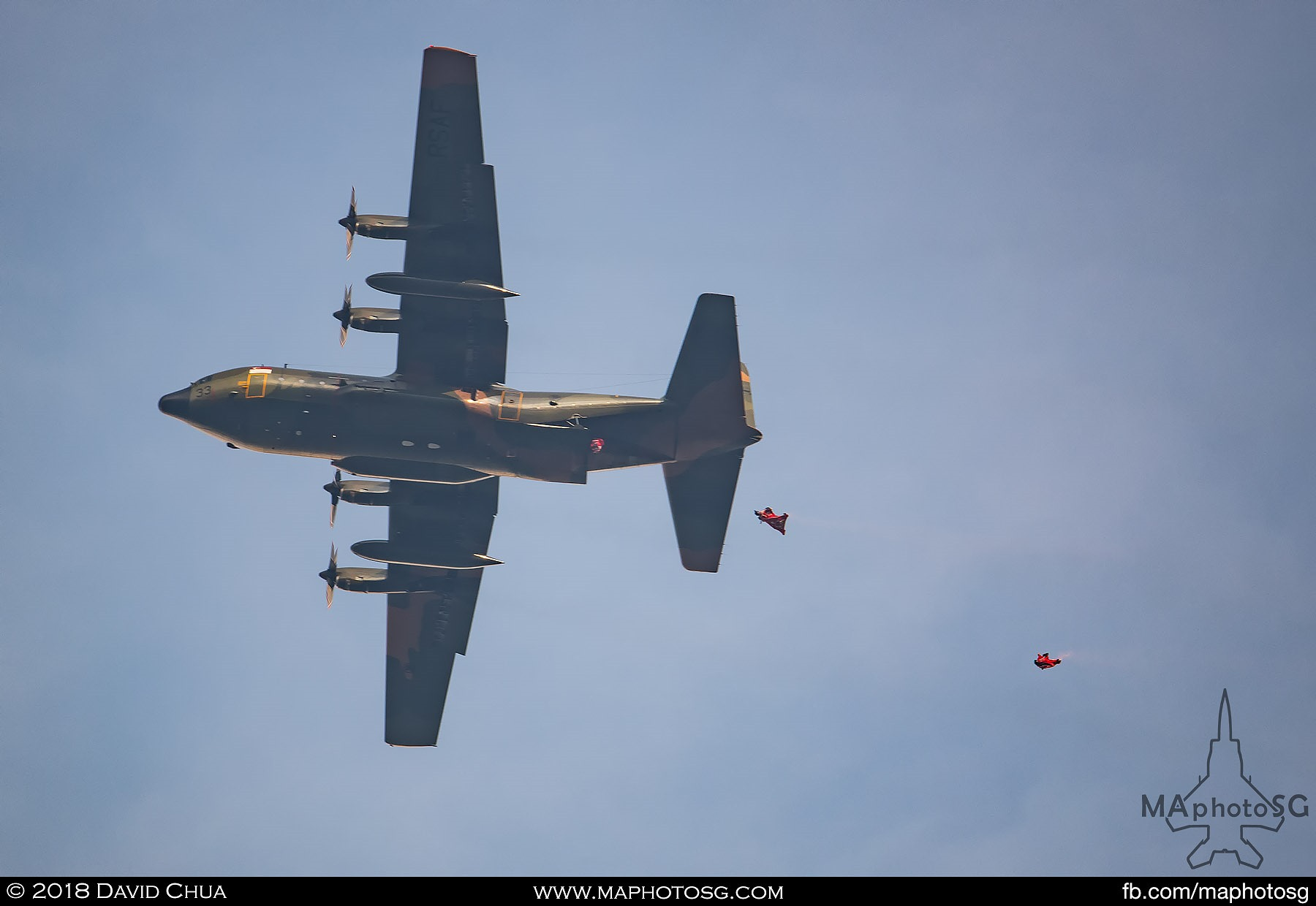 07. Red Lions deploying from a RSAF C-130H Hercules aircraft at 3800m performing a wingsuit jump.