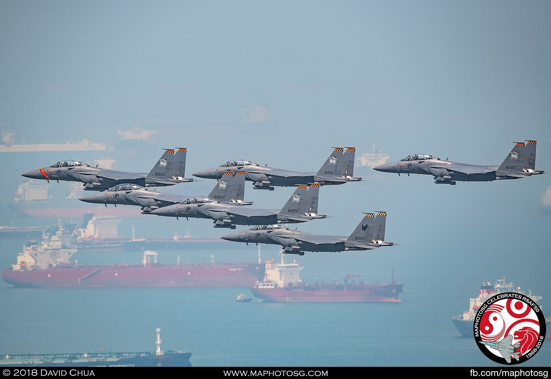 6 F-15SG in Delta Formation over Singapore Strait