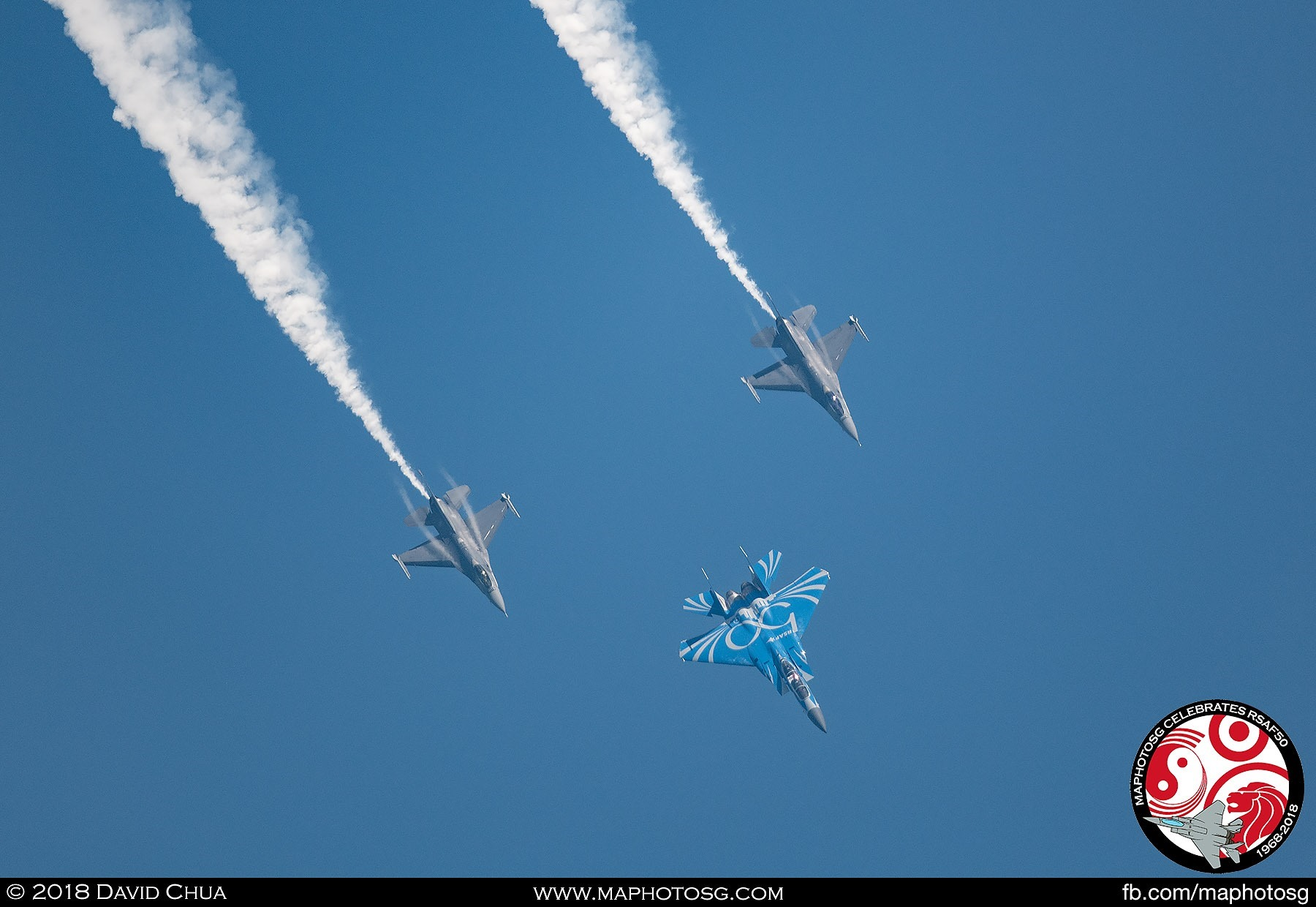 Vertical Loop - The three aircraft pull up in Arrowhead Formation executing a loop.