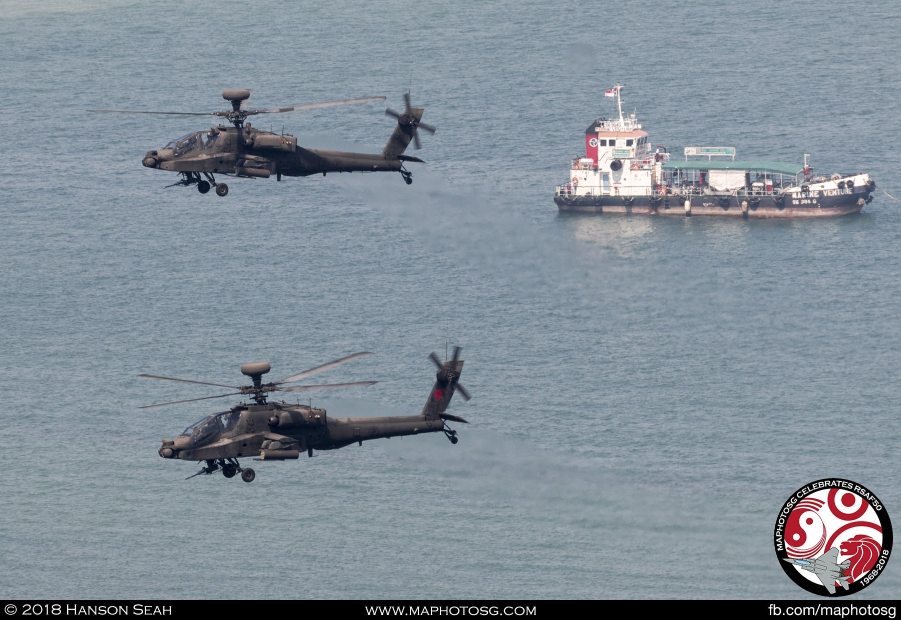 Completing their performance, the two Apaches made a round over the Marina Barrage.