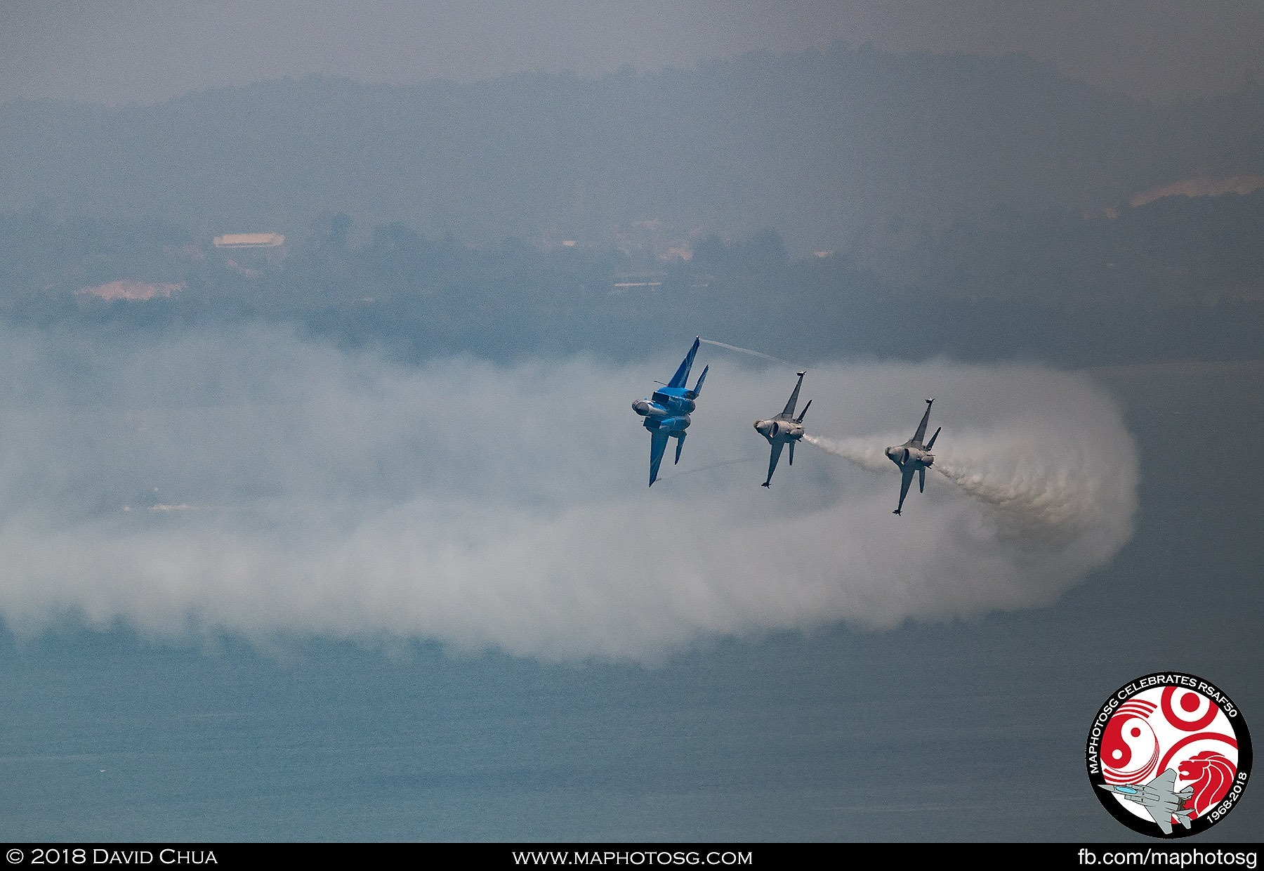 Spear – The F-15SG and F-16Cs enter show centre in the spear formation.